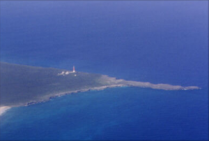 Aerial photo of the southern tip of Great Abacos Island showing Hole-in-the-Wall lighthouse.