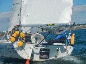 Picture of Diane & Andrew on OGOC, all smiles at the UK Mini Fastnet start.