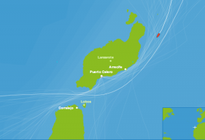 Position of Diane from Fleet Tracking as of 8pm November 23, off the coast of Lanzarote.
